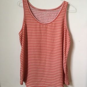 Coral Striped Sleeveless Blouse